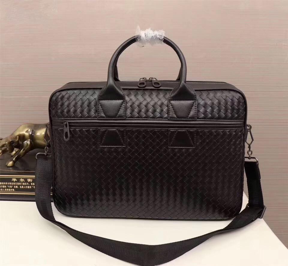 selección premium 32631 a7a12 Kaisiludi bolso de cuero tejido a mano para hombres bolso de cuero para  hombres maletín de negocios casual bolsa de ordenador moda para hombres y  ...