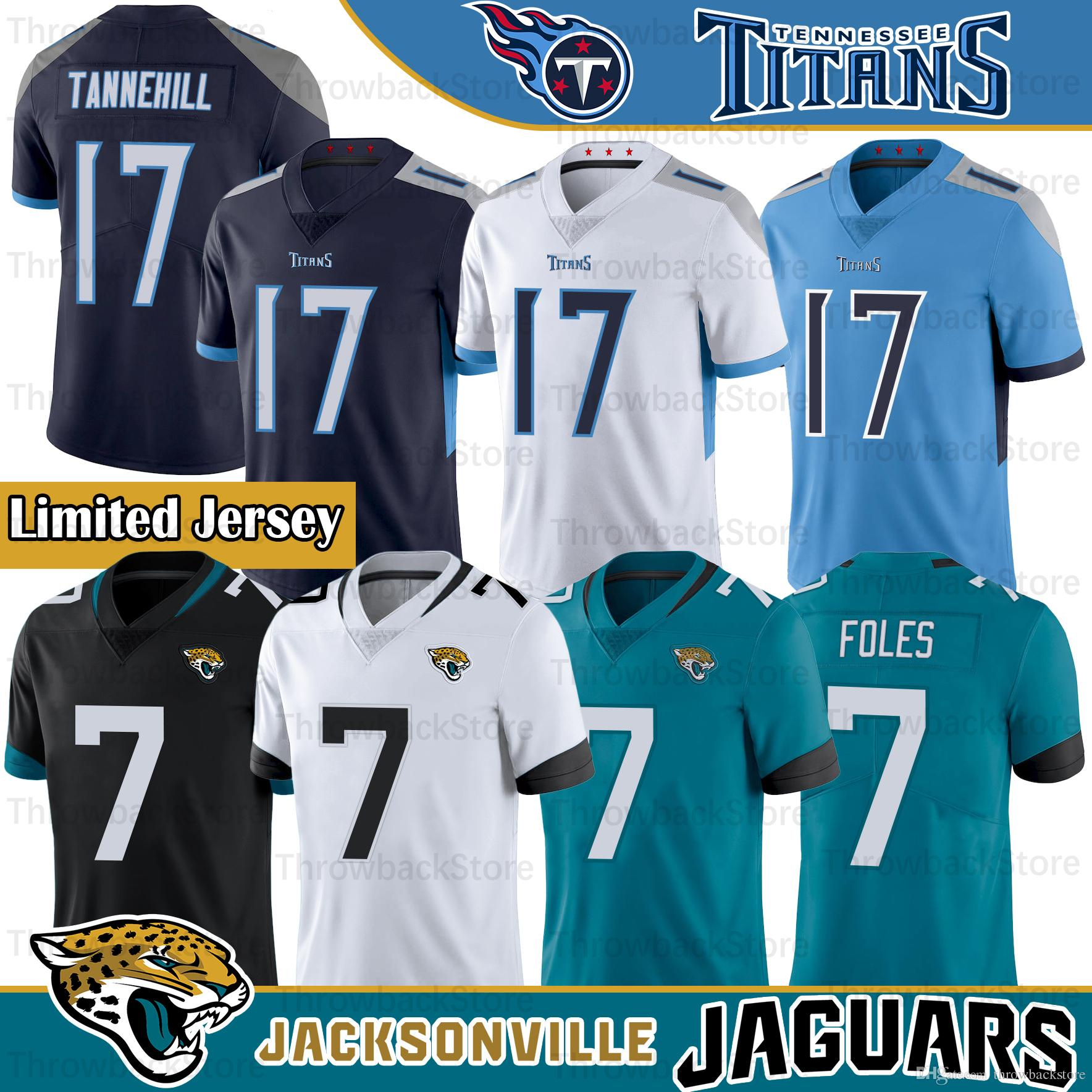 wholesale dealer 24e8a 83815 17 Ryan Tannehill Titans Jersey Tennessee 2019 New Jacksonville 7 Nick  Foles Jaguars American Football Limited jersey