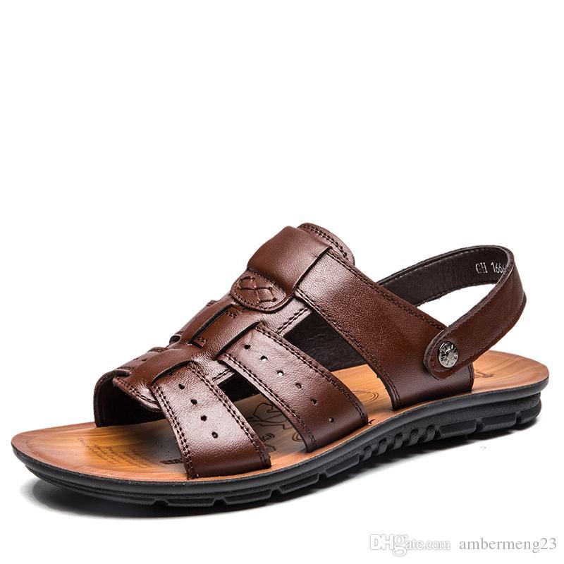 dfdf59bc Compre Sandalias De Cuero Para Hombre De Cuero 2018 Nuevo Estilo De Playa  De Verano Zapatos Flats 45 Add Size 46 Extra Large Size 47 A $35.18 Del ...