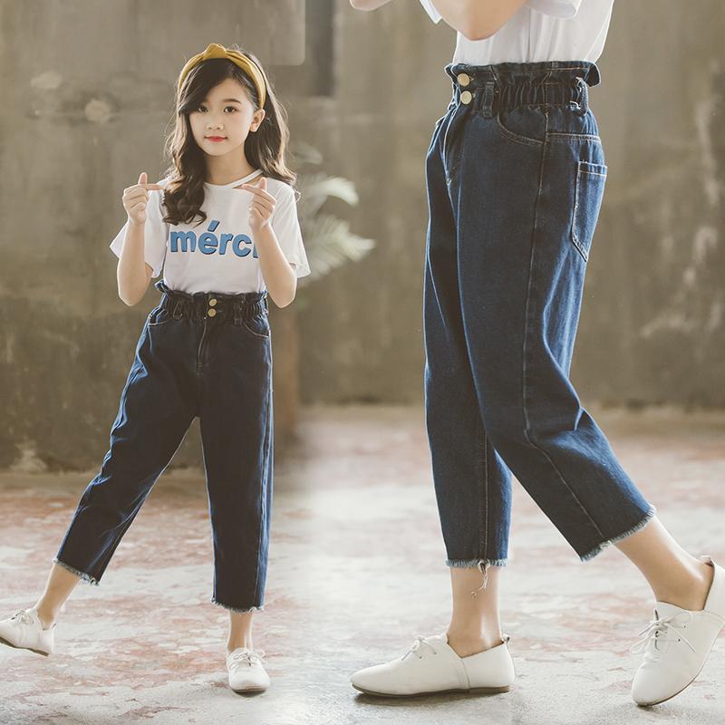 Acheter 2019 Mode Filles Jeans Enfant Vêtements Pour Enfants Taille  Élastique Casual Denim Pantalon Pantalon Enfants Vêtements Pour Filles Jean  Fille De