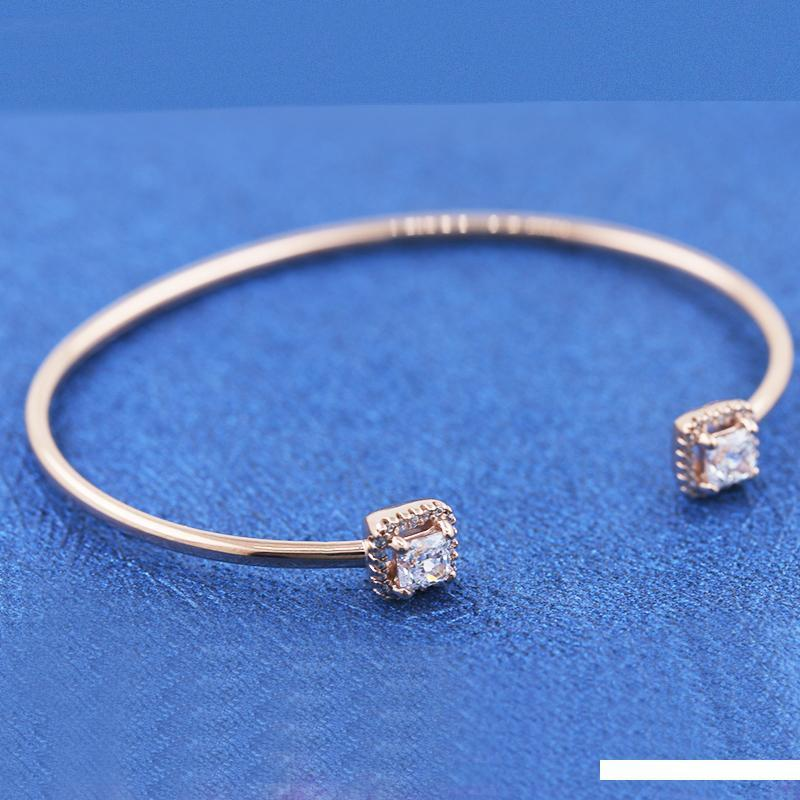 LISM [Wholesale] 925 silver 2019 winter new rose gold zircon shiny square open bracelet 588508C01