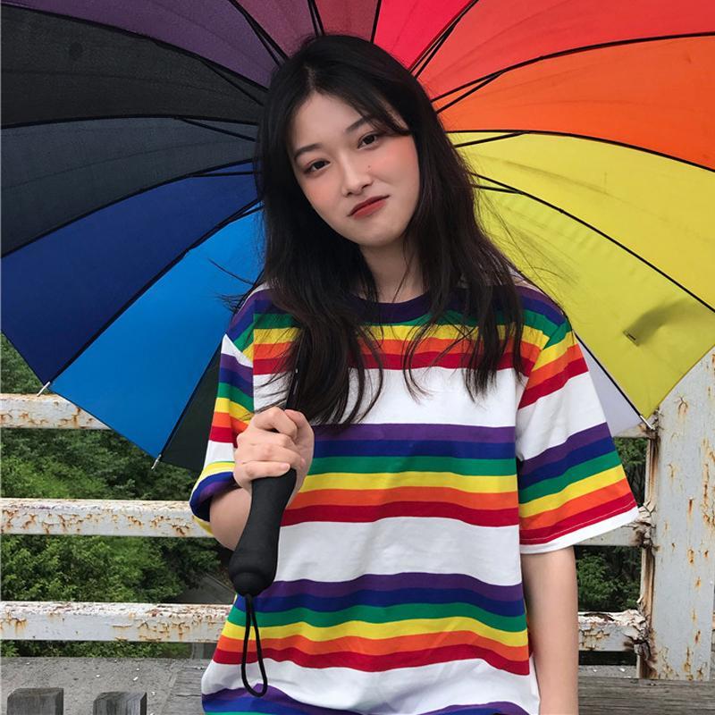 3cb6d253 Tee Shirt Woman Summer Tops Korean Ulzzang Harajuku Rainbow Striped T Shirt  For Women Short Sleeve Tshirt Female Casual Clothing Y190123 Funny Printed  ...