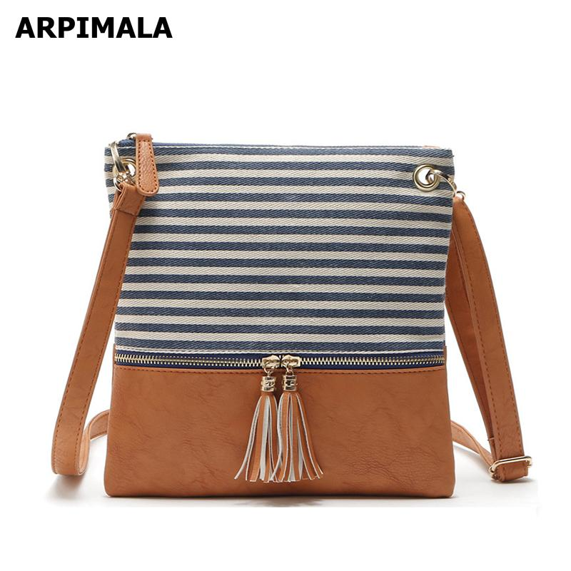 b2c8d7f06899 ARPIMALA Canvas Crossbody Bag Lady Striped Blue Handbags Casual Tassel  Women Messenger Bags Small Clutch Black White Purse