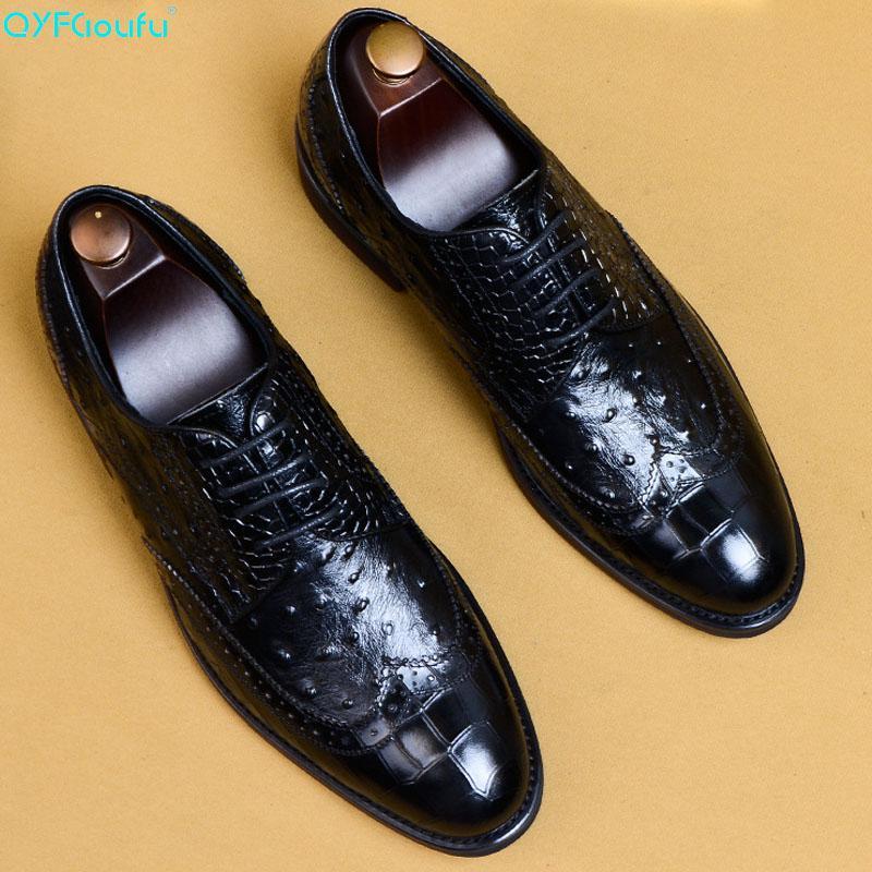 58200e81 Compre QYFCIOUFU Nuevo Patrón De Avestruz Hombres Zapatos Vintage ...