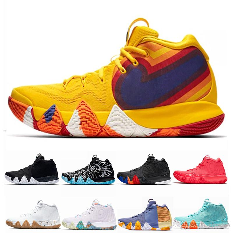 best sneakers ef684 4af7c Kyrie Irving 4 IV EP 70s 80s 90s Decade Pack Multi-Color Uncle Drew Irving  4s Mens Basketball Shoes Chaussures Sneakers Zapatos Size 12