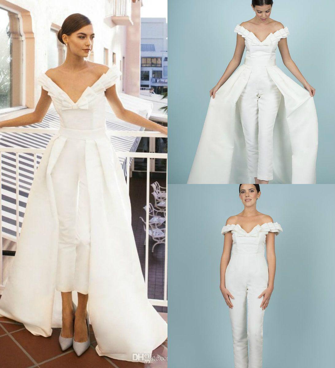 1df1eb1d672 New Women Jumpsuit With Long Train White Prom Dresses Off Shoulder Sweep  Train Elegant Evening Dress Party Zuhair Murad Dress Vestidos Festa Cheap  Long ...
