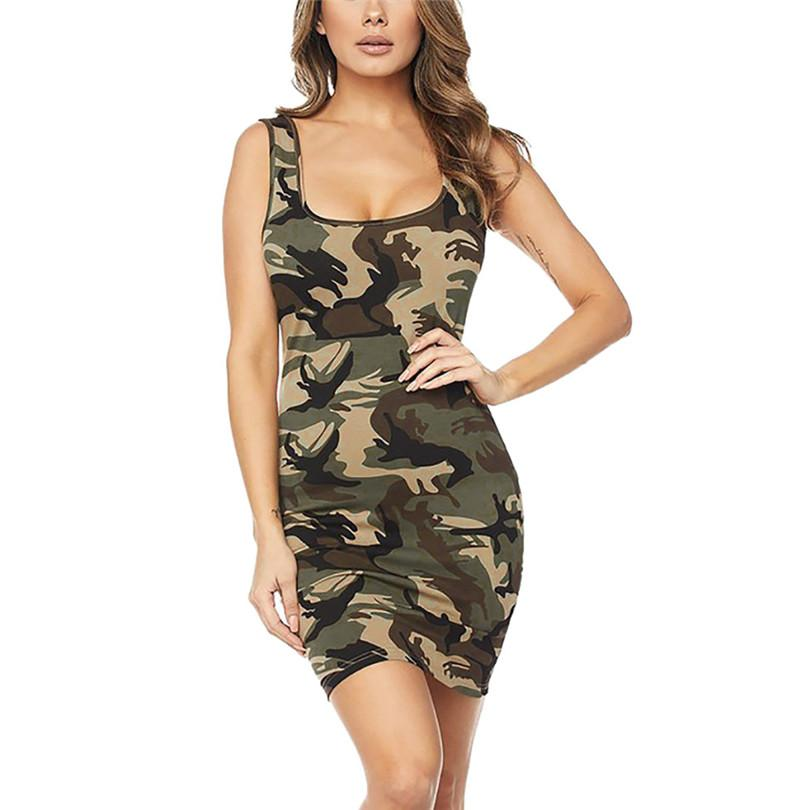wholesale O-Neck Camouflage Sleeveless Mini Dress Women Buttock Bodycon Club Wear Dresses Slim Sundress Short Dresses