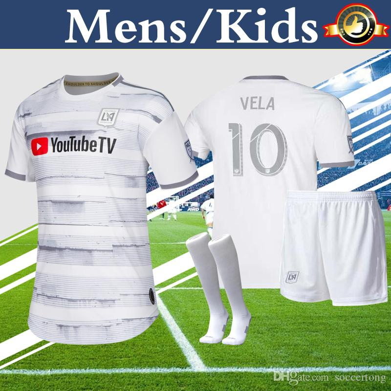 outlet store 9a780 ffda7 LAFC Kids Kit Mens Soccer Jersey Away White Child Boy Youth 2019 MLS Los  Angeles FC VELA ROSSI ZELAYA Soccer Uniform