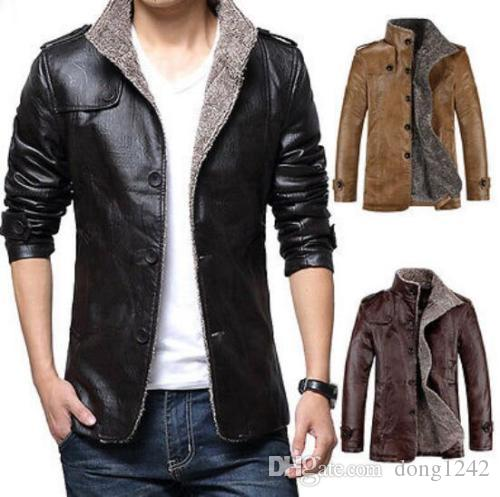 Vogue Mens Winter Jacket Leather Coat Fur Parka Fleece Slim Casual Warm Outwear