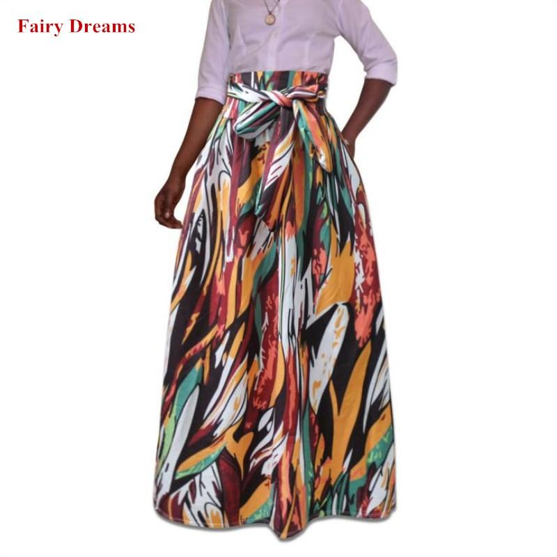 e3a7e83bc8036 Plus Size Africa Skirts Clothes 5XL Ankara Indian African Colorful Women  Summer Autumn Fashion Bandage Long Skirt 2018 New Style