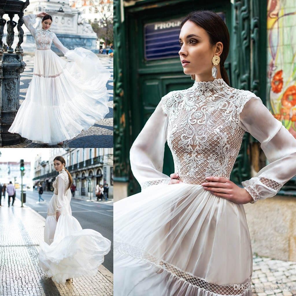 349c69f584ac Discount Oksana Mukha Bohemia Wedding Dresses High Neck Lace Long Sleeve  Bridal Gowns Plus Size Beach Boho Wedding Dress Robe De Mariée Affordable  Lace ...
