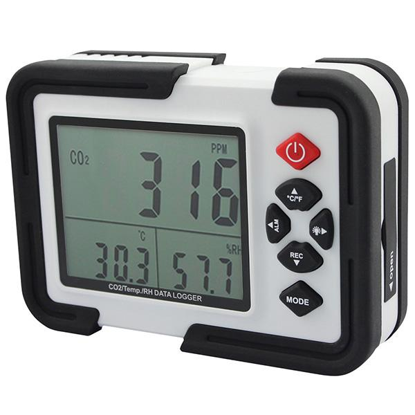 Venta al por mayor -Digital Co2 Monitor Co2 Meter Ht -2000 Analizador de gas Detector 9999ppm Analizadores de CO2 con temperatura y prueba de humedad relativa