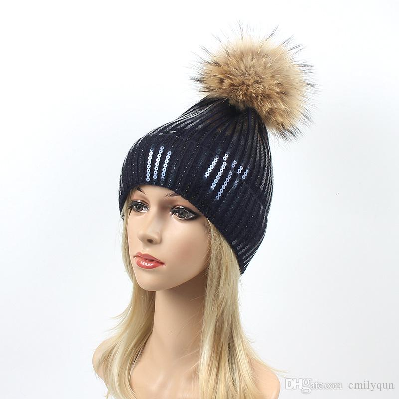 9ea78bf8a00 Winter Women Beanies Hats Knitting Hat For Women 100% Real Raccoon Fur  Pompom Ball Caps Ladies Hats Pom Beanie Cap European Warm Beanie Women Hats  Cool ...