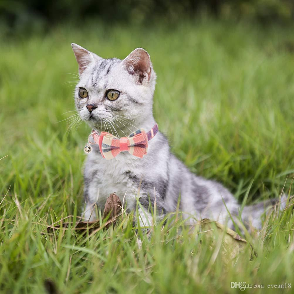 2 Pack / Set Cat Collar Plaid Breakaway con Bell - Estilo Bowtie para Kitty Adjustable 7.8-10.2