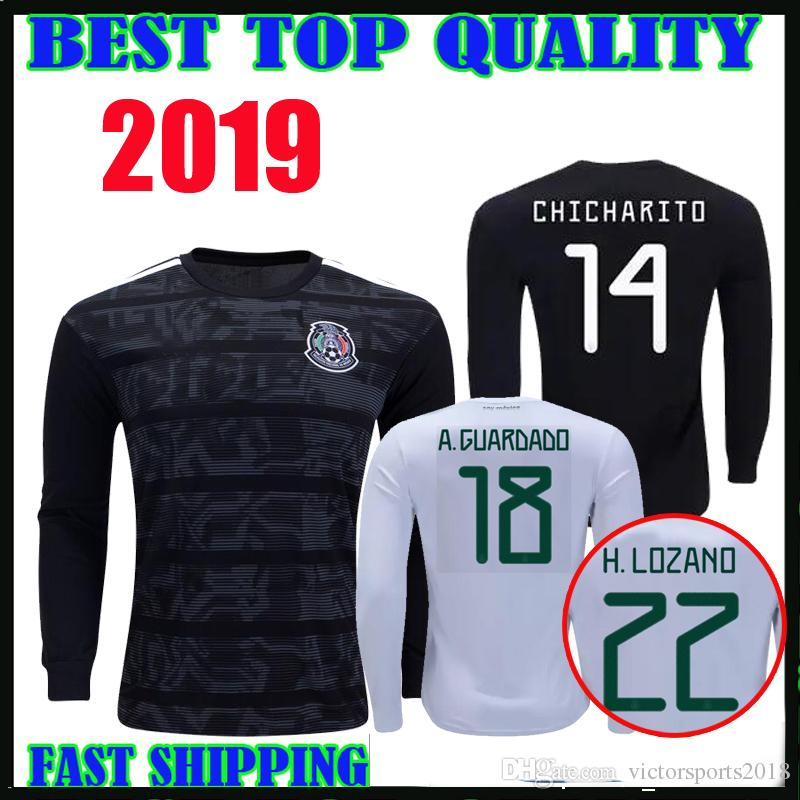 52acc5207 2019 Mexico Long Sleeve Soccer Jersey Gold Cup 19 20 Home Away ...