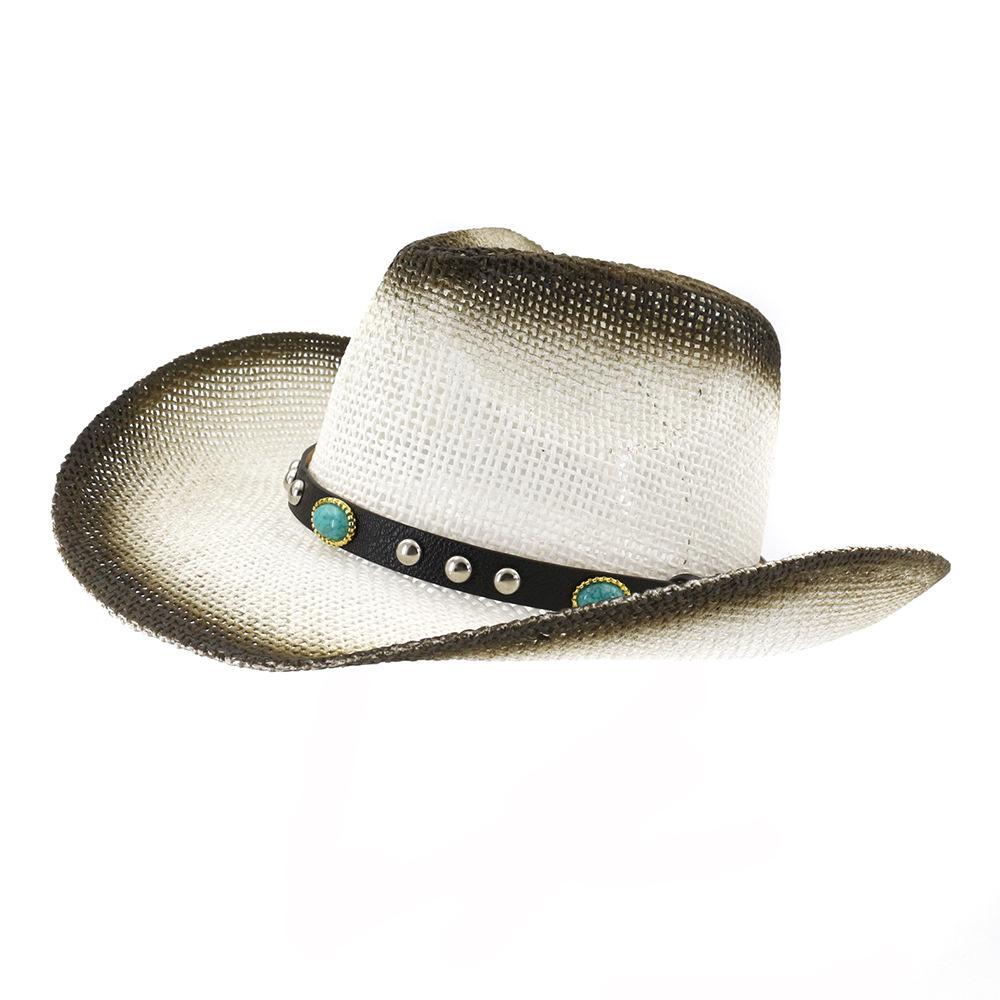453c06d6 2019 Summer Black Paint Spraying Paper Straw Cowboy Hat Men Women Wide Brim  Panama Style Beach Sunhat Visor Cap Drop Shipping Fur Hats Men Hats From ...