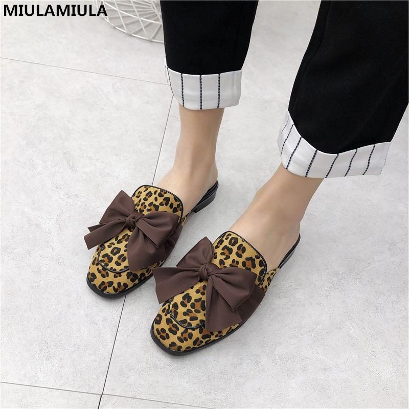 537aa720f46d MIULAMIULA Brand Designers 2019 Spring Butterfly Knot Woman Shoes Flat Leopard  Slides Slip On Loafers Mules Flip Flops 35 40 Slipper Dress Shoes From  Xuezi
