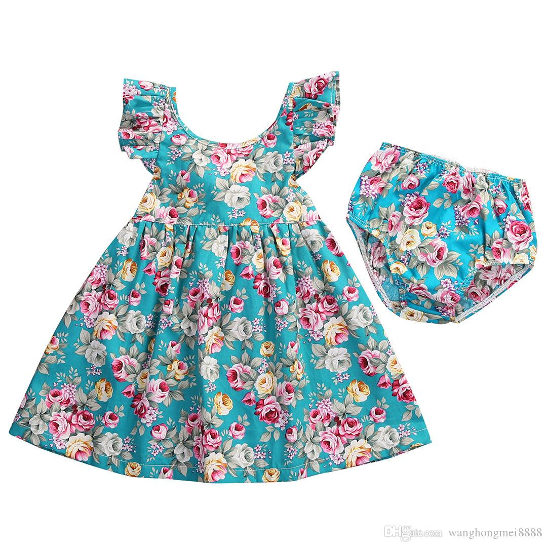 2019 Cute Toddler Baby Girl Summer Clothing Ruffle Floral Sleeveless Dress Sundress Briefs Bottoms Two Piece Outfits Set