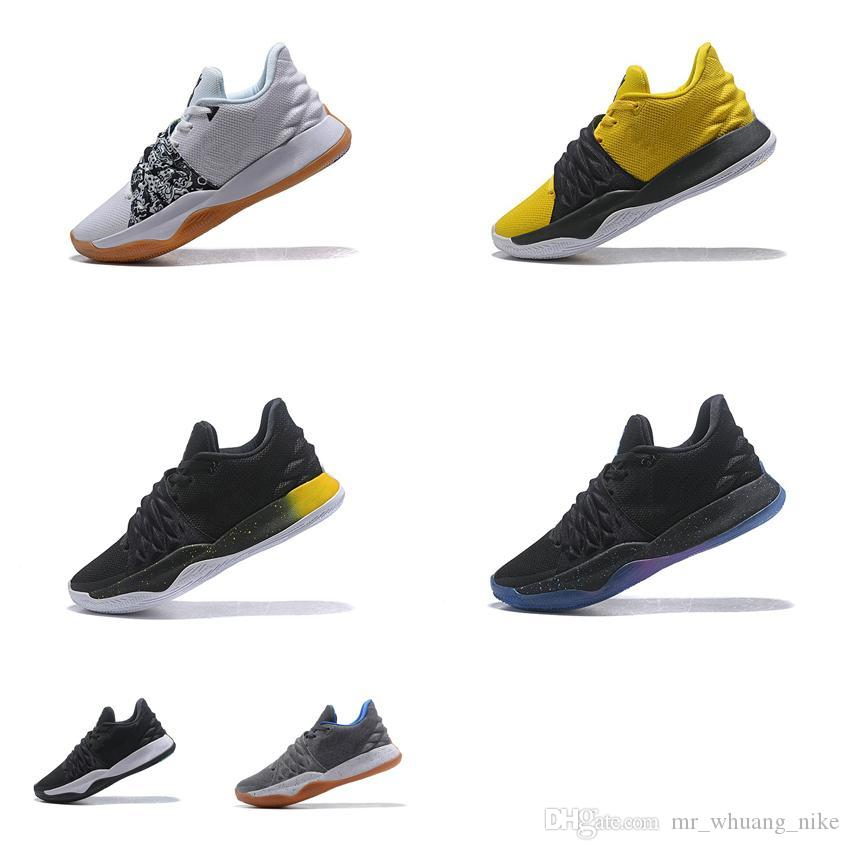 new style 598aa 17821 2019 Cheap New Men Kyrie Low Cut Basketball Shoes Cool Grey Black Yellow  Limited Air Flights Irvings 4 IV Sneakers Boots Tennis For Sale With Box  From ...