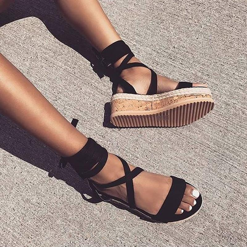 984820dc0a3 Wholesale Summer Ankle Strap Women Platform Sandals Open Toe Wedge  Espadrilles Women Sandals Lace Up Gladiator Sandals Plus Size 43 Shoe Shop  Cute Shoes ...