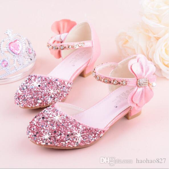 Girls Leather Shoes High Heel Sandals2018 Spring Summer Shiny Rhinestones  Bow Casual Shoes Princess Model Show Wedding Ceremony Leather Kids Shoes  Casual ... 4d432bc1cc99