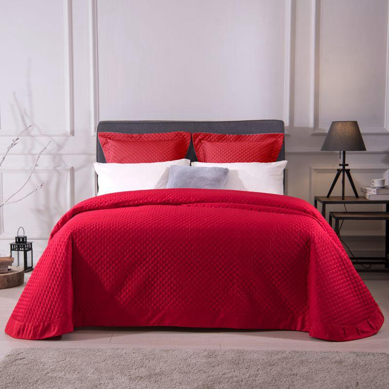 Red Bedspread Comforter Bedding Set 60S Egyptian Cotton Quilted
