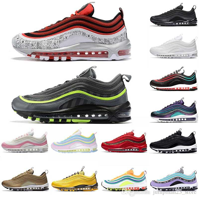 nike 97 air 97 air max 97 Cojín para correr Zapatillas de tenis OG Gimnasio Red Leopard Rainbow triple blanco Uva Negro Hombres Zapatos para mujer