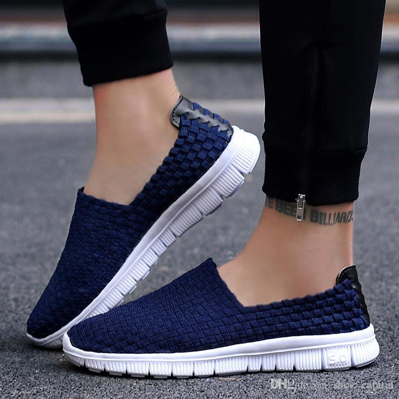 f83b51e25b62ab Men Sneakers Summer Shoes Casual Flats Breathable Woven Loafers Slip On Handmade  2018 Fashion Valentine Footwear Size 35 44 #55064 Black Shoes Wholesale ...