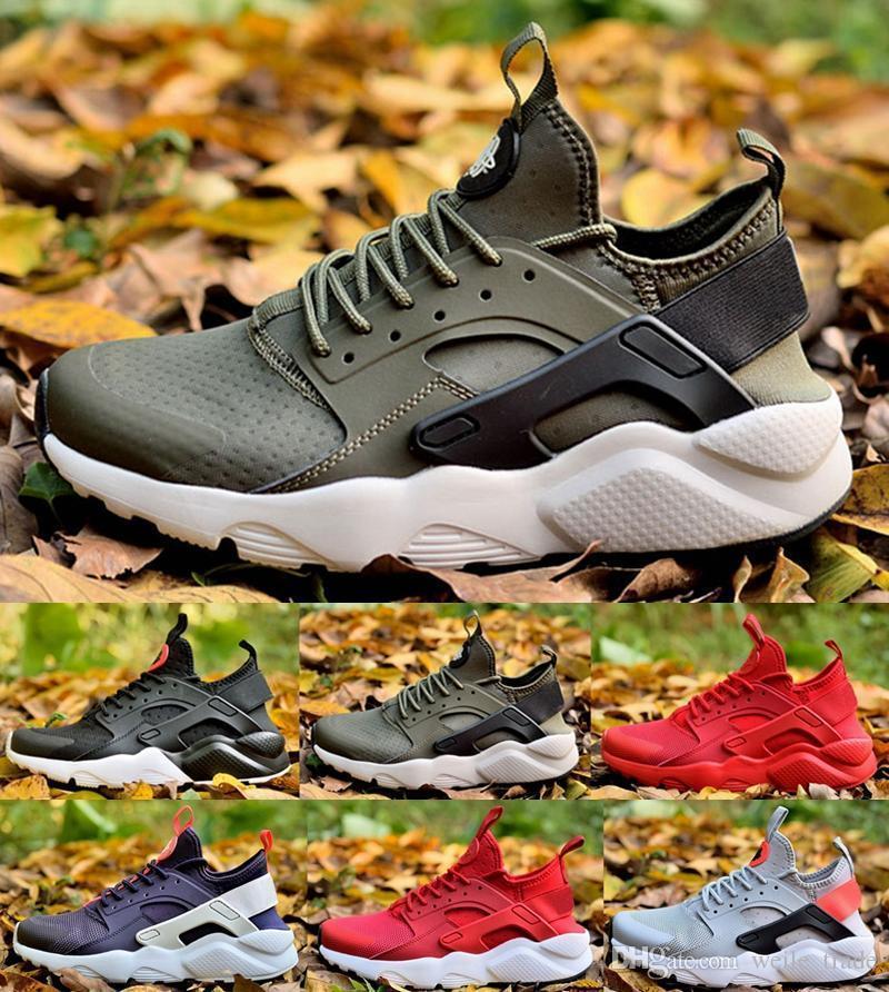 Air Huarache 4 IV Zapatos para correr para hombres, mujeres, baratos, verde rojo para hombre, Triple Huaraches, calzado deportivo, zapatillas de