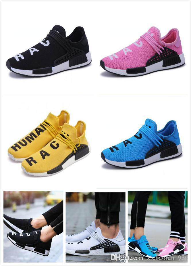 new arrival 89826 7bfbe Green Nerd Heart Mind Human Race Running Shoes Homecoming Solar PacK  pharrell williams Hu trail trainers Men Women runner Sports sneakers