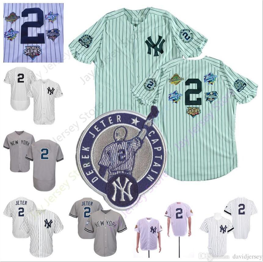 783459bb 2019 Derek Jeter Jersey 2 With Retirement Patch Yankees 1995 ...