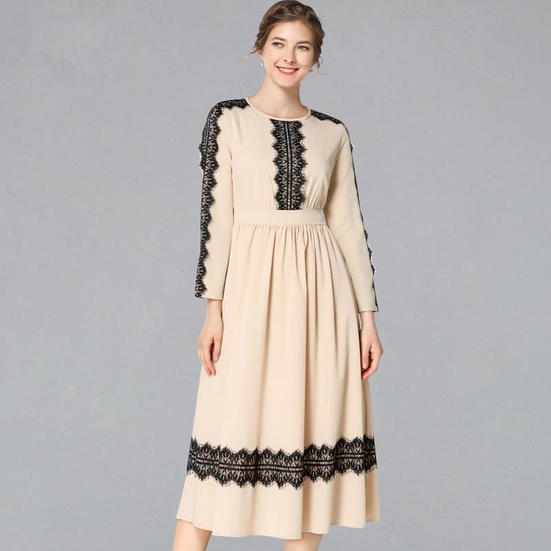 be1caa156b Women Autumn Long Sleeve Chiffon Patchwork Lace Dress Runway Vintage Work  Casual Slim Sexy Party Dresses White Dress Women Black Dress Casual From  Cozywine, ...