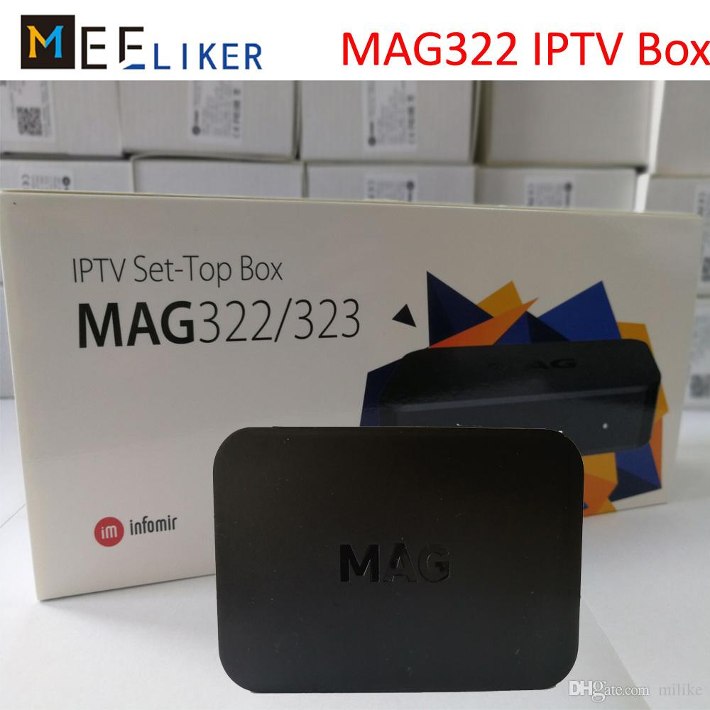 New arrived MAG322 IPTV SET top box streaming BCM75839 chipset 512M Linux  decoder HDMI internet HD media player H 265 STB MAG 322