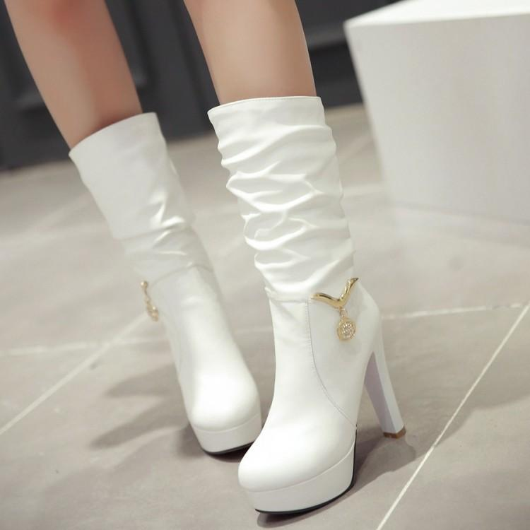 Women's Boots Allenlynn Luxury Large Size 35-47 Sexy Long Boots Women Shoes Woman Party Chunky Heels Top Quality Over Leg Boots