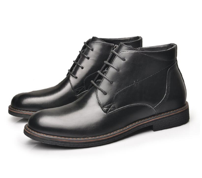 477987112689fe Acheter OSCO En Cuir Véritable Hommes Bottes Automne Hiver Bottines Bottes  De Mode Chaussures À Lacets Hommes Affaires Décontracté Haut Haut Hommes ...