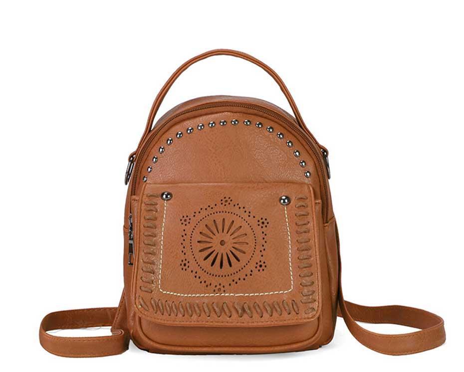 14519d15bac2 Vintage Pu Leather Backpack Hollow Out Small Teenage Girl School Bag  Fashion Female Travel Shoulder Bags Rivet Rucksack Bag Laptop Backpack  Backpacks For ...