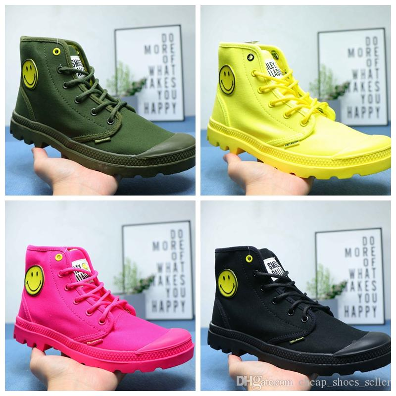 new products e44a5 03357 2019 scarpe firmate PALLADIUM Sneakers donna Pampa Lo Cuff Soldiers Stivali  moda luxury mens Scarpe Smile Face Canvas Casual Mid Boots 35-45