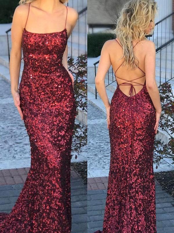 Wine Red Sequins Mermaid Evening Prom Dresses Simple 2019 Spaghetti Straps Cheap Party Gowns With Criss-Cross Backless Plus Size BC0706