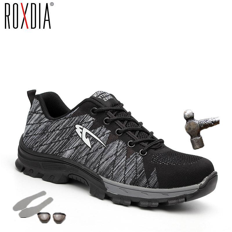 4040f2d278c7f Compre ROXDIA Marca Biqueira De Aço Mulheres Homens Botas De Segurança De  Trabalho De Aço Meados De Sola Resistente Ao Impacto Macio Sapatos  Masculinos Plus ...