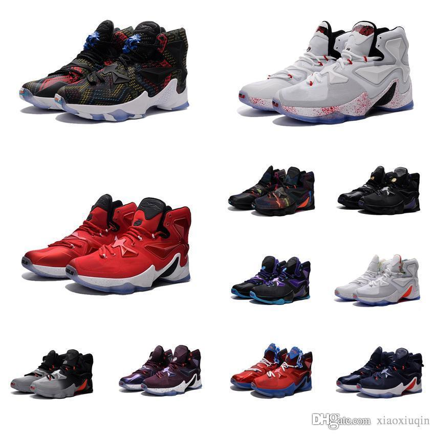 sneakers for cheap 1d8b2 5e134 2019 Mens Lebron 13 Basketball Shoes USA Akronite BHM Black Gold Purple  Easter Halloween White Prime Gym Red Wolf Grey Sneakers Tennis With Box  From ...