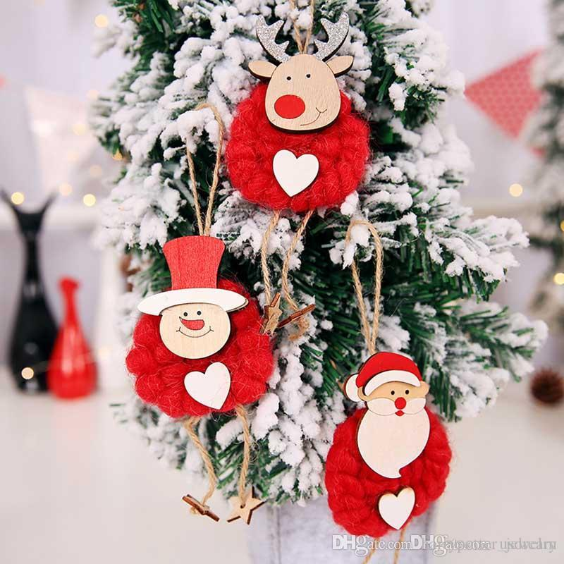 3pcs/set Red White Merry Christmas Santa Snowman Reindeer Doll Christmas Tree Hangs Christmas Decorations Drop Ship 110214