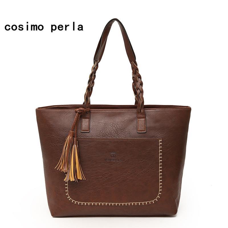 Vintage Designer Fashion Dropshipping Totes Luxury Bag Big Tassel Handbags  2019 Women Leather Shoulder Bags Large Capacity Purse Designer Purses  Satchel ... 4f62126e6b974