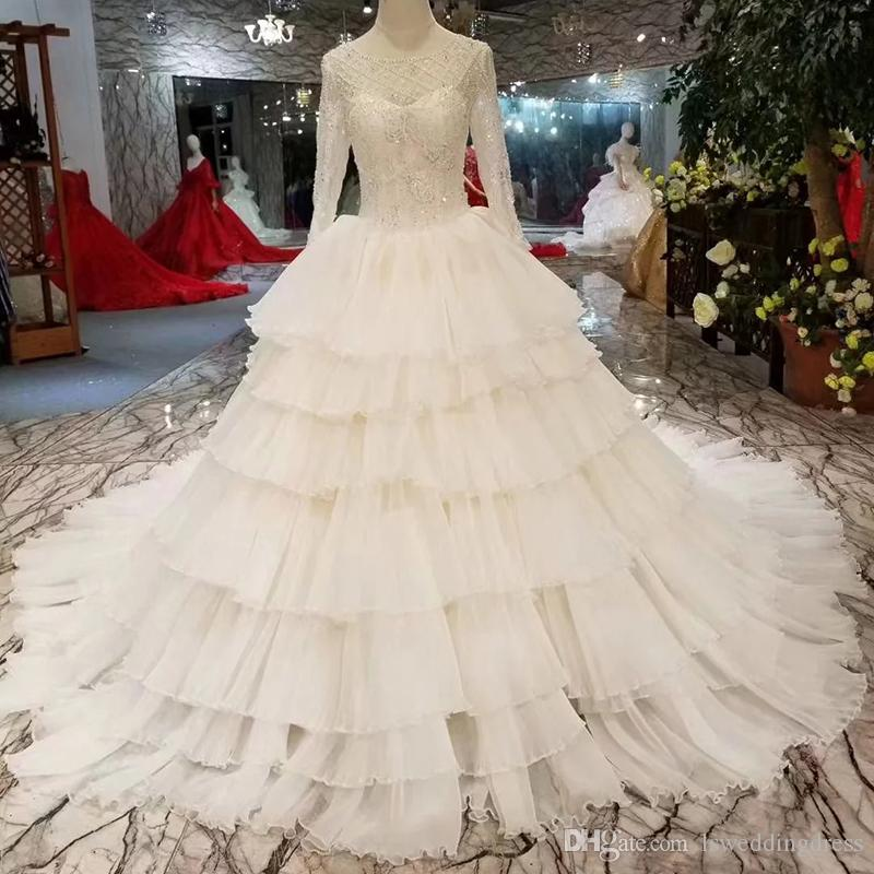 064a880fae5 O Neck Long Sleeves Lace Up Back Wedding Dress Bridal Gowns Cake Style Wedding  Gowns Beaded Wedding Dress More International Designer Bridal Wear Brides  ...