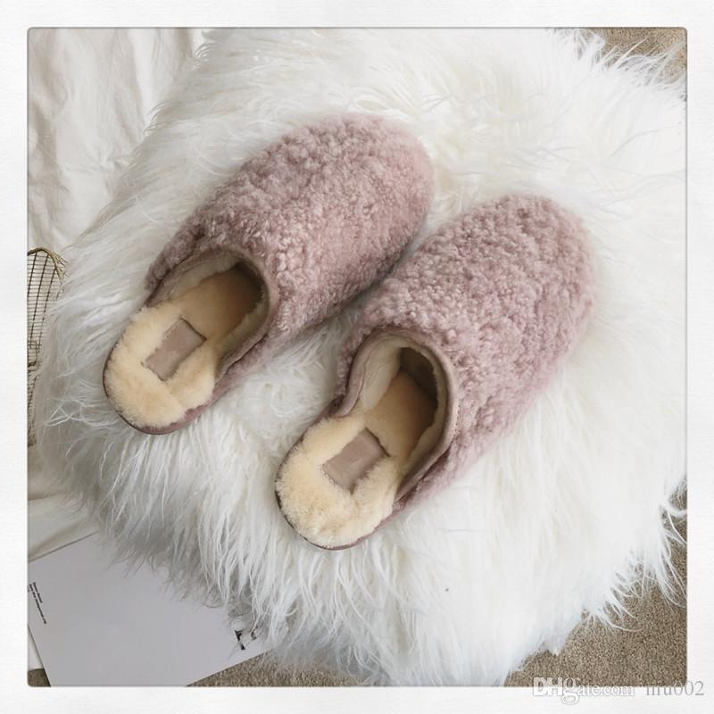 Hot Sale- Hair Flip Flops Women Home Slippers Indoor Soft Fur Furry Slide Sweet Feather Thick Bottom Beach Female Sandals bmh19090604