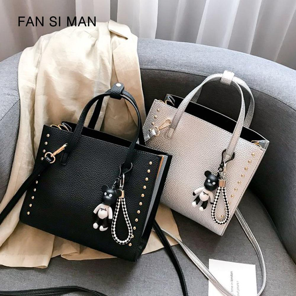 2019 Fashion Fansiman 2018 New Luxury Pu Leather Rivet Casual Fashion  Women S Shoulder Messenger Bag High End Brand Designer Handbags Messenger  Bags ... 2890ac5c2100b