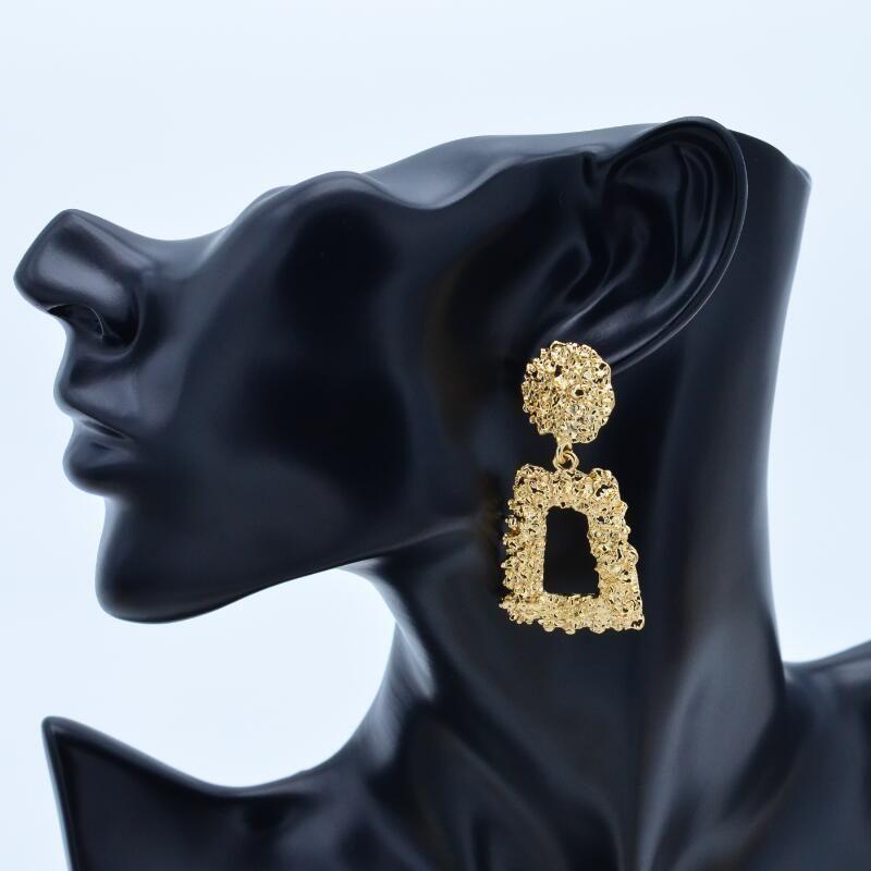 fcc848fb874de Vintage earrings for women of color large gold earring geometric statement  2018 metal earring pendant jewelry fashion trend