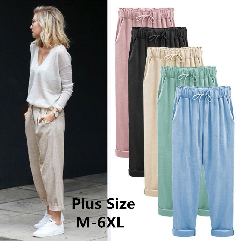 cd8f203edb11cd 2019 2018 Wide Leg Harem Pant Female Trousers Casual Spring Summer Loose Cotton  Linen Overalls Pants Plus Size Candy Color C19041801 From Xiao0002, ...