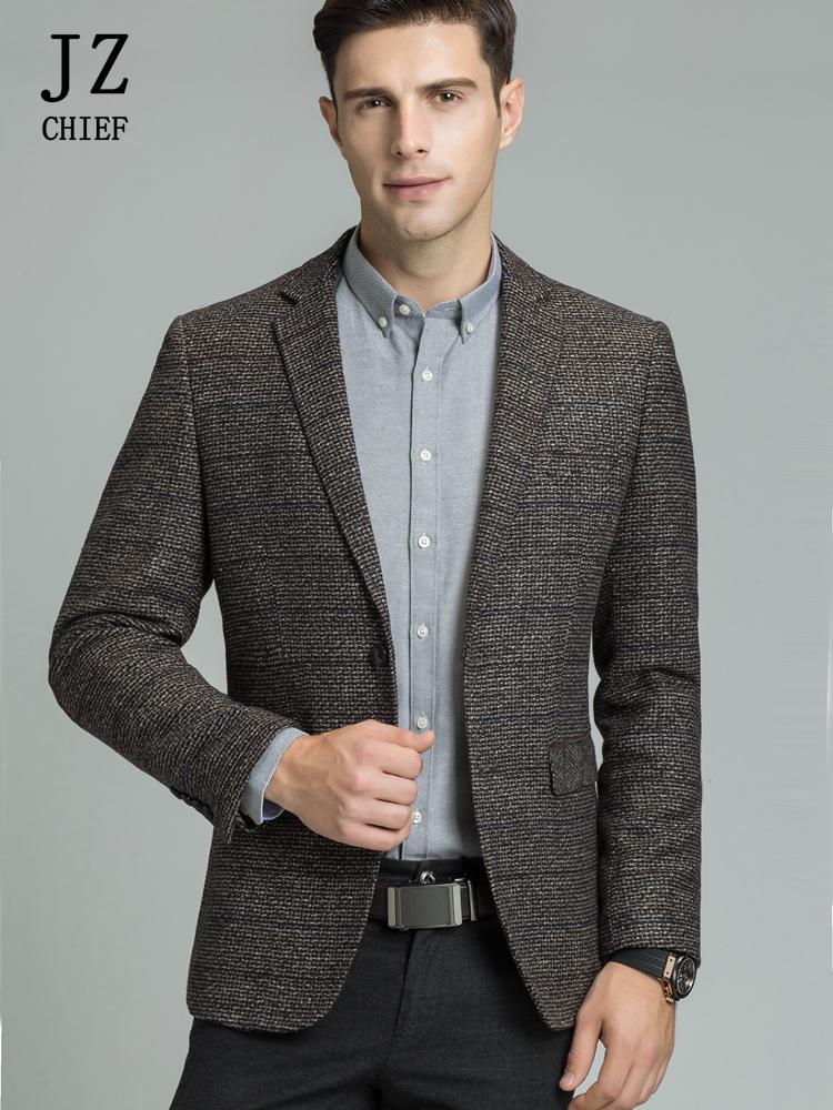 Jacket Suit Man Jacket Blazer Wool Blazers Men Slim Fit Casual Elbow