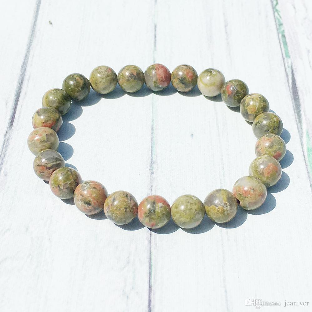 Jeaniver Unakite Stacking Bracelet Chakra Wrist Mala Beads Jewelry Protection Creativity Bracelet Spiritual Healing Jewelry