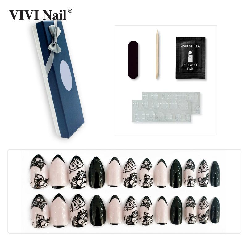 Press On Stiletto Lace False Nail With Double Side Nail Stickers In ... afdc3d2039